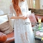 Vanessa Flower Embroidered White Tulle and Lace Dress thumbnail 4