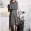 ชุดเดรสเกาหลี พร้อมส่งเดรสยาวผ้าชีฟองพิมพ์ลายตารางสีขาว-ดำ thumbnail 6