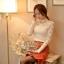 เสื้อผ้าเกาหลี พร้อมส่ง เสื้อลูกไม้สีขาว ดีเทลแขนยาว ผ้าเกรดดีเนื้อนิ่มมาก thumbnail 7