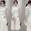 เสื้อผ้าเกาหลี พร้อมส่งFloral Top + Lace Pant Set thumbnail 2