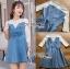 ชุดเดรสเกาหลี พร้อมส่งมินิเดรสเกาะอกผ้าเดนิมทับเสื้อลูกไม้สีขาว thumbnail 9