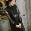 เสื้อผ้าเกาหลี พร้อมส่งเชิ้ตยาวผ้าป็อบลินคอตตอนตกแต่งแขนลูกไม้ thumbnail 3
