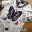 ชุดเดรสเกาหลี พร้อมส่งเดรสผ้าเดนิมฟอกสีขาวปักลายผีเสื้อตรงกลาง thumbnail 6