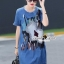 เสื้อผ้าเกาหลี พร้อมส่งGlitter Blossom Denim Dress thumbnail 1