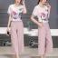 เสื้อผ้าเกาหลี พร้อมส่งPastel Tone Water Drawing Top + Pant Set thumbnail 4