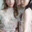 เสื้อผ้าเกาหลีพร้อมส่ง เสื้อผ้าลูกไม้ขาวทรงแขนกุดพร้อมซับในสีนู้ด thumbnail 10
