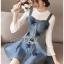 ชุดเดรสเกาหลี พร้อมส่งเดรสผ้าเดนิมสกรีนลายดาวทับเสื้อลูกไม้สีขาว thumbnail 6