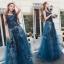 ชุดเดรสเกาหลี พร้อมส่งLong dress แขนกุดผ้ามุ้งสีกรม สองชั้น thumbnail 4