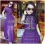 ชุดเดรสเกาหลี พร้อมส่งSelf-Portrait Scallop Edged Midi Dress in Burgundy thumbnail 8