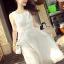 ชุดเดรสเกาหลี พร้อมส่งเดรสยาวสีขาวแขนกุด เนื้อผ้าออแกนซ่า thumbnail 2