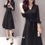 ชุดเดรสเกาหลี พร้อมส่งเดรสคอวี ทรงสวย เนื้อผ้า polyester หนานุ่ม thumbnail 3