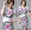 ชุดเดรสเกาหลี พร้อมส่งเดรสผ้าโพลีเอสเตอร์กระโปรงระบายปักลายดอกไม้สีสดใส thumbnail 6
