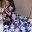 ชุดเดรสเกาหลี พร้อมส่งเดรสผ้าทูลเลปักดอกไม้โทนสีครีมน้ำเงิน thumbnail 5