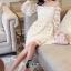 ชุดเดรสเกาหลี พร้อมส่งเดรสลูกไม้สีขาวสะอาด thumbnail 5