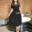Diana Vintage Feminine Black Lace Pleated Dress thumbnail 1
