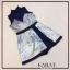 เสื้อผ้าแฟชั่นเกาหลี เสื้อคอเต่าจับจีบแขนกุดเนื้อผ้าซีทรู ด้านนอกสายเดี่ยวตัดต่อกระโปรงผ่าด้านหน้า thumbnail 5