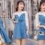 ชุดเดรสเกาหลี พร้อมส่งมินิเดรสเกาะอกผ้าเดนิมทับเสื้อลูกไม้สีขาว thumbnail 3