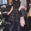 ชุดเดรสเกาหลี พร้อมส่งlong dress ฉลุสีกรม แขนสั้นซับในเย็บติดสีเนื้อช่วงอกยาวเหนือหัวเข่า thumbnail 1