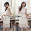 ชุดเดรสเกาหลี พร้อมส่งเดรสผ้าลูกไม้สีขาวตกแต่งเลเยอร์สุดเก๋ thumbnail 3