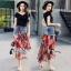 เสื้อผ้าเกาหลีพร้อมส่ง Sheila Black Top + Denim Skirt thumbnail 7
