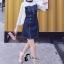 ชุดเดรสเกาหลี พร้อมส่งเดรสยีนส์ เย็บต่อลูกช่วงอก thumbnail 3