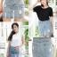 เสื้อผ้าเกาหลีพร้อมส่ง กระโปรงยีนส์เอวสูงแต่งริบบิ้นเพิ่มความน่ารักเกร๋ๆ thumbnail 5