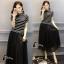 ชุดเดรสเกาหลี พร้อมส่งGivenchy Stylish Hot B&W Dress thumbnail 7