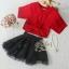 เสื้อผ้าเกาหลี พร้อมส่ง เซ็ตเสื้อ+กระโปรง ตัวเสื้อสีแดงสด กระโปรงผ้าแก้วสีดำ thumbnail 5