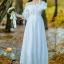 ชุดเดรสเกาหลี พร้อมส่งlong dress สีขาว ผ้า cotton ทรงยางยืดปาดไหล่ thumbnail 2