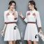 เสื้อผ้าเกาหลี พร้อมส่งเชิ้ตแนวเดรส สีขาวลายใหม่ผลิตออกมาให้ สวยเด่น thumbnail 9