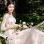 ชุดเดรสเกาหลี พร้อมส่งLong dress สีชมพูโอรส แขน 5 ส่วน thumbnail 2