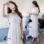ชุดเดรสเกาหลี พร้อมส่งLong dressยาวสีขาวดูสะอาดตา thumbnail 6