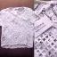 เสื้อผ้าเกาหลี พร้อมส่ง เสื้อสีขาวแขนสั้นเนื้อผ้าฉลุลายลูกไม้ See-Throught ทั้งตัว thumbnail 3