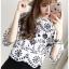เสื้อผ้าเกาหลีพร้อมส่ง เสื้อผ้าคอตตอนสีขาวฉลุละปักลายดอกไม้สีดำ thumbnail 4