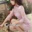 เสื้อผ้าเกาหลี พร้อมส่งShiny Lady PinkGold Leaf Lace Playsuit thumbnail 2