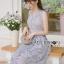 ชุดเดรสเกาหลี พร้อมส่งเดรสผ้าลูกไม้สีม่วงไลแล็คสไตล์แบรนด์ thumbnail 1