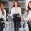เสื้อผ้าเกาหลี พร้อมส่งจั้มสูทเปิดไหล่ปักฉลุลาย thumbnail 7