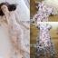 ชุดเดรสเกาหลี พร้อมส่งเดรสผ้าทูลเลปักดอกไม้กุหลาบสีชมพูทับลูกไม้สีชมพู thumbnail 12