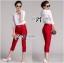 เสื้อผ้าเกาหลี พร้อมส่ง เซ็ตเสื้อ-กางเกงขายาวทรงสกินนี่สีเเดง red rouge thumbnail 1