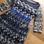 ชุดเดรสเกาหลี พร้อมส่งเดรสผ้าทูลเลสีน้ำเงินปักลายดอกกุหลาบสีทอง thumbnail 6