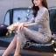 ชุดเดรสเกาหลี พร้อมส่งชุดLong dress ลูกไม้สีเทาเรียบหรู thumbnail 4
