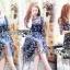 ชุดเดรสเกาหลี พร้อมส่งเดรสผ้าทูลเลสีน้ำเงินปักลายดอกกุหลาบสีทอง thumbnail 4
