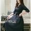 Katie Elegant Chic Minimal navy Blue Dress with Ribbon thumbnail 1