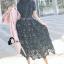 ชุดเดรสเกาหลี พร้อมส่งlong dress ฉลุสีกรม แขนสั้นซับในเย็บติดสีเนื้อช่วงอกยาวเหนือหัวเข่า thumbnail 8