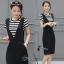 เสื้อผ้าเกาหลี พร้อมส่งเสื้อลายขวางขาวดำคอกลมผ้าไม่หนาและไม่บางเน thumbnail 2