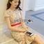 ชุดเดรสเกาหลีพร้อมส่ง เดรสผ้าเครปสีเบจปักลายดอกไม้สีสดใส thumbnail 1