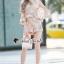 เสื้อผ้าแฟชั่นเกาหลีพร้อมส่ง Lovely Gold Blossom Lace Pleaty JumpSet thumbnail 5