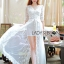 Vanessa Flower Embroidered White Tulle and Lace Dress thumbnail 1