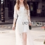 Vanessa Flower Embroidered White Tulle and Lace Dress thumbnail 2
