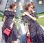 ชุดเดรสเกาหลีพร้อมส่ง เดรสผ้าคอตตอนลายจุดสีขาว-ดำตกแต่งเลเยอร์ thumbnail 2